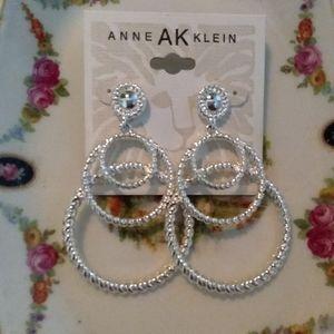 Anne Klein Hoop Dangle Silver Tone Earrings